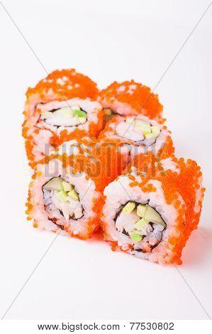 sushi roll in tobiko