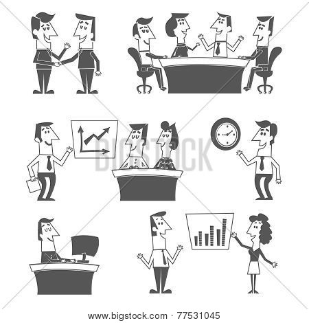 Office workers black vector