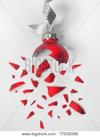 Broken Red Christmas Ball