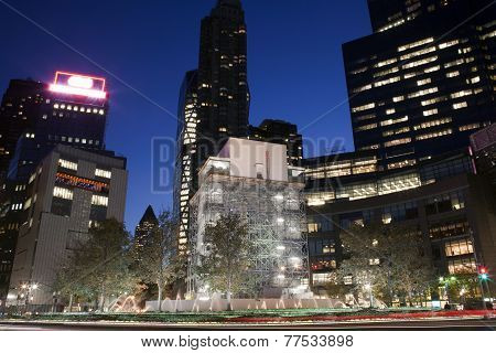 Columbus Circle At Night In New York City