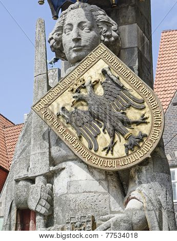 medieval statue of hero Roland and the old town of Bremen