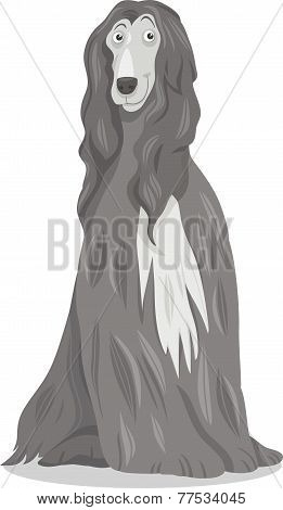 Afghan Hound Dog Cartoon