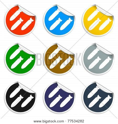 Air Bomb Vector Icon. Set Of Blank Stickers