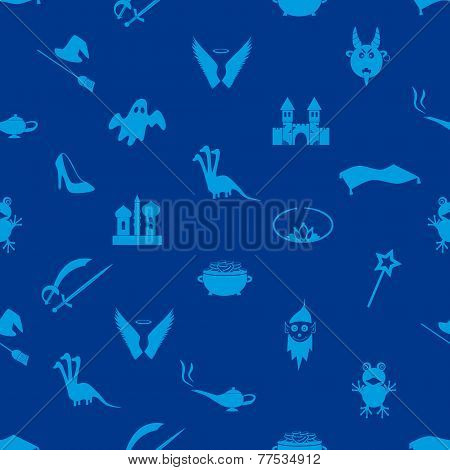 Blue Simple Fairy Tales Theme Seamless Pattern Eps10