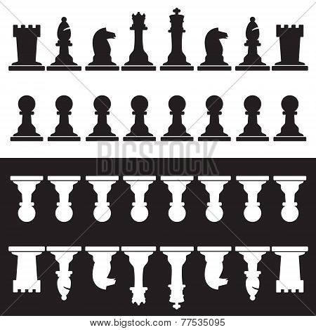 Set Of Black And White Chess Pieces Eps10