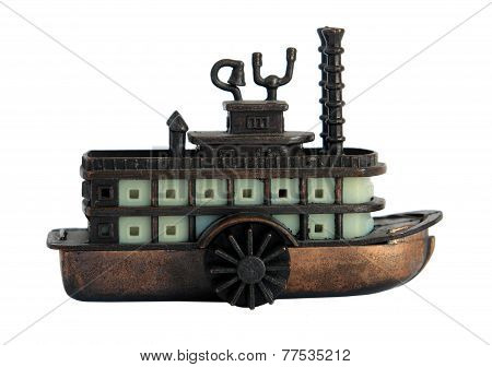 Bronze Miniature Of Old Steamboat