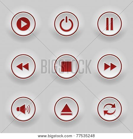 Red Round Buttons For Web Player