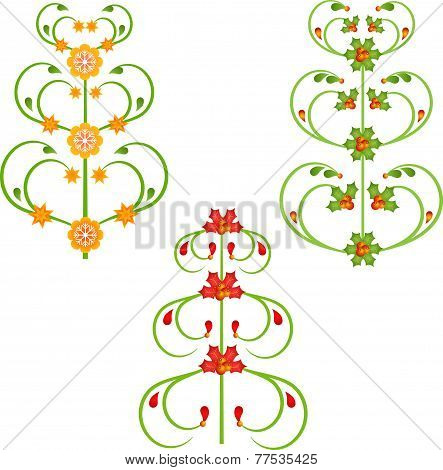Isolated Christmas Tree Vectors, Christmas Decorations
