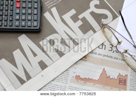 Closeup Of Markets Text And Financial Graph