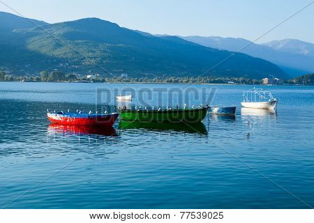 Boats on Lake Ohrid