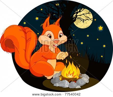 Illustration of funny squirrel warms his hands near a campfire