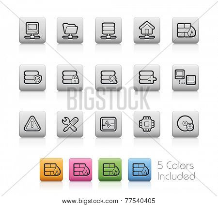 Network & Server Icons // Outline Buttons - Each color in a layer. To see the desired color, you need to make it visible in the layer panel -- EPS 10+ Contain Transparencies