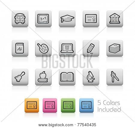 Education Icons // Outline Buttons - Each color in a layer. To see the desired color, you need to make it visible in the layer panel -- EPS 10+ Contain Transparencies