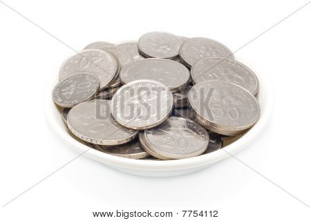 Malaysia Coins In White Plate