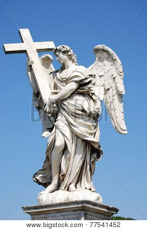 Bernini marble statue of angel with cross from the Sant Angelo Bridge in Rome