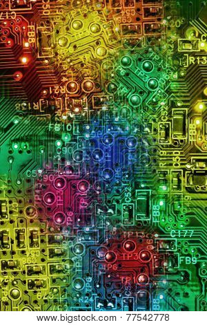 Multi Colours Abstract Background of Computer Electronic Circuit Boards