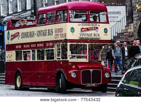 Charming Vintage Double Decker Bus About To Begin A City Tour
