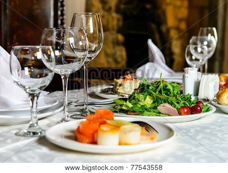 Served banquet restaurant table
