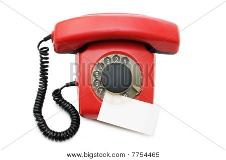 Red Old Telephone Isolated On White