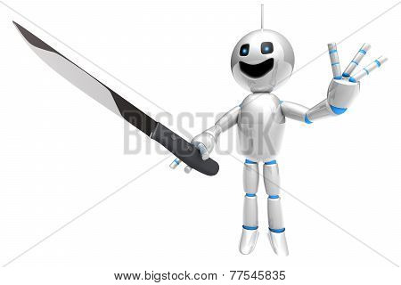 Cartoon Robot With A Kitchen Knife.