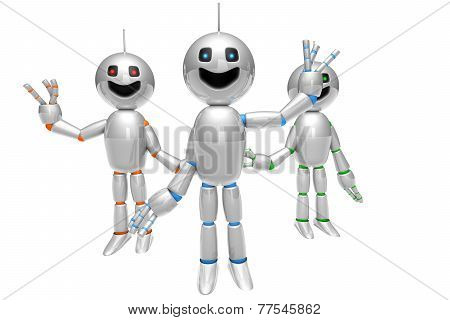 Group Of Greeting Cartoon Robots