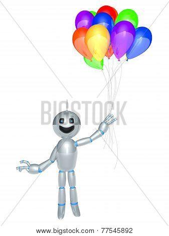 Cartoon Robot With Balloons