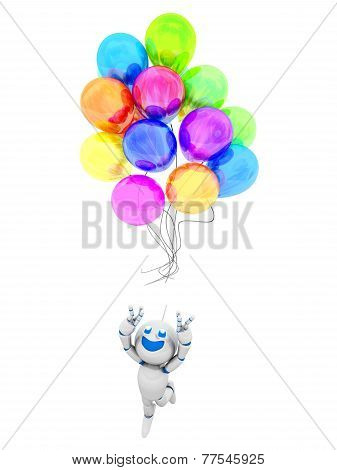 Cartoon Robot Losing Its Balloons