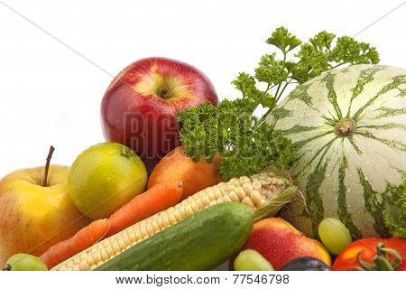 Organic Fruit And Vegetables With Water Drops