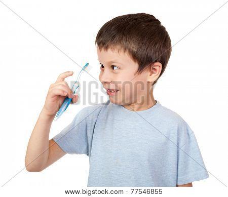 grimacing boy portrait on white background