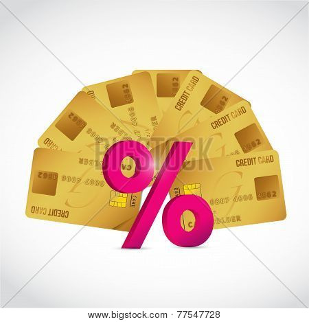 Set Of Credit Cards And A Percentage Sign