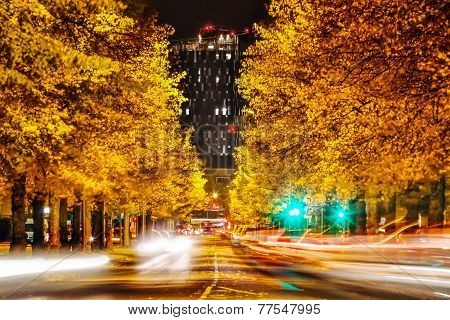 Yellow Autumn Trees And Tall Black Hotel At Night In Tampere, Finland