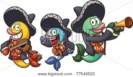 Cartoon mariachi fish. Vector clip art illustration with simple gradients. Each on a separate layer.