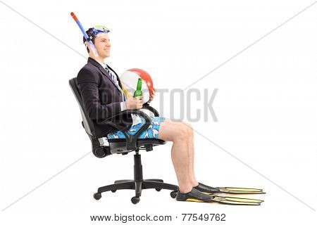 Businessman with snorkel sitting in an office chair isolated on white background