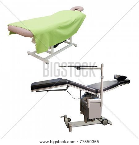 massage bed and medical bed under the white background