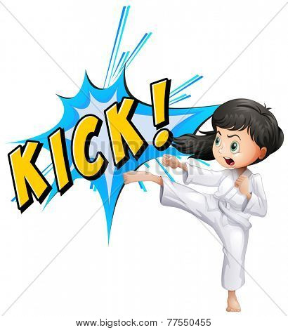 Girls posing the act of 'kick'