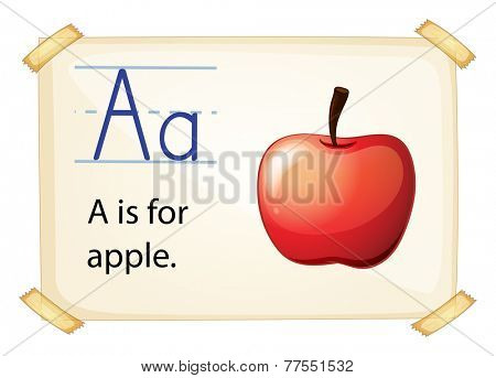 A letter A for apple on a white background