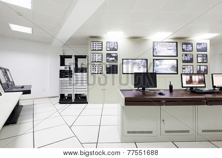surveillance control room interior of airport