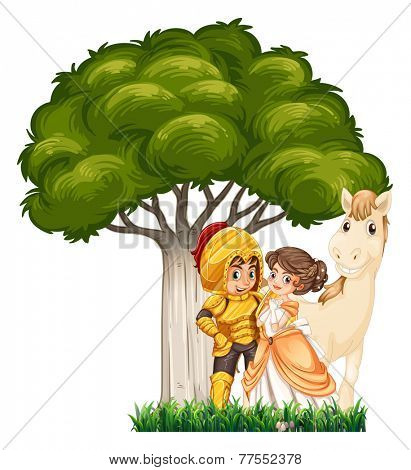 A soldier and his lover with a horse under the tree on a white background