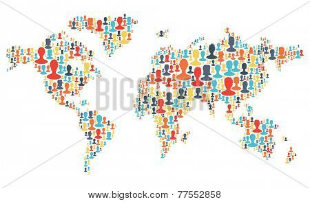 Group of colorful people silhouettes making a earth planet shape. Raster version