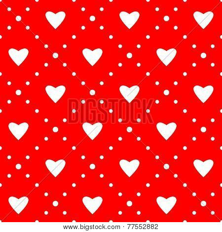 Seamless pattern. Ornament with hearts. Holiday background