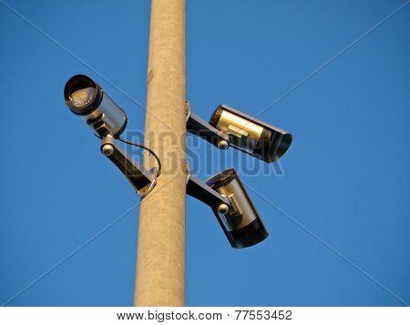 Security Surveillance Cameras On A Pole