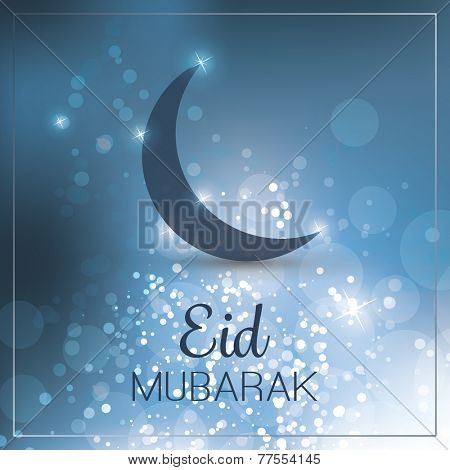Eid Mubarak - Moon in the Sky - Greeting Card for Muslim Community Festiva