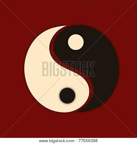 Stylish Yin-Yang symbol of China on maroon background.