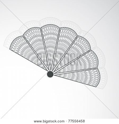 Beautiful floral design decorated paper fan of China in black and white on grey background