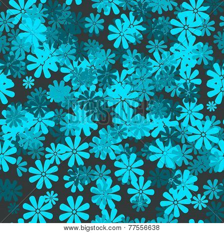 Seamless Floral Pattern In Blue Tones