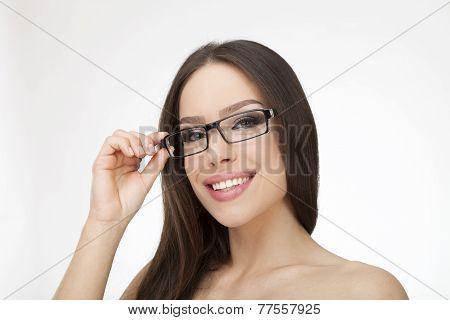 Portrait Of Pretty Girl Wearing Stylish Eyeglasses