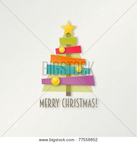 Abstract colorful Christmas tree. Greeting card.
