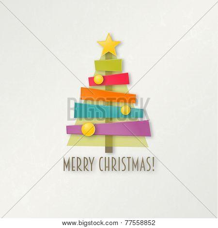Abstract colorful Christmas tree. Greeting card.