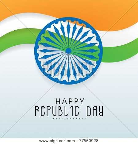 Beautiful national flag color waves with Ashoka Wheel for Happy Republic Day celebration on shiny sky blue background.