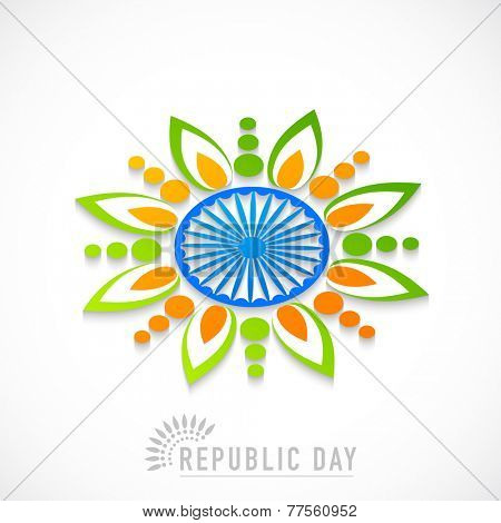 Beautiful rangoli design made by national tricolor with Ashoka Wheel for Indian Republic Day celebration on white background.